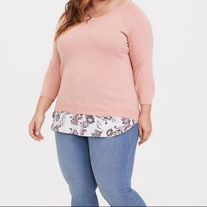Torrid Peach/Blush Raglan 2fer Sweater Boat Neck